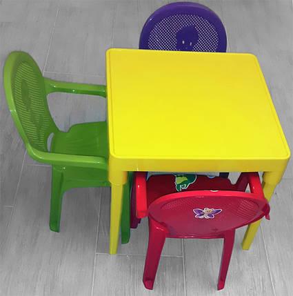 Стол пластиковый детский квадратный темно-желтый, фото 2