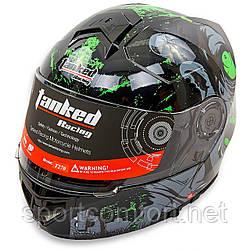 Мотошлем интеграл (full face) Tanked Racing T270 (ABS, размер L-XXL-58-64, черный-салатовый)