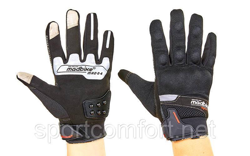 Мотоперчатки MADBIKE MAD-04-BK размер L-XXL черный-белый