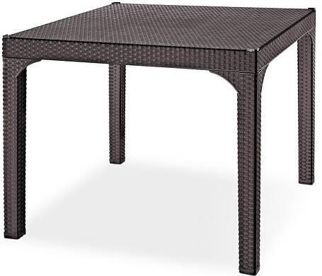 Стол квадратный Irak Plastik Comfort 90x90 под ротанг темно-коричневый, фото 2
