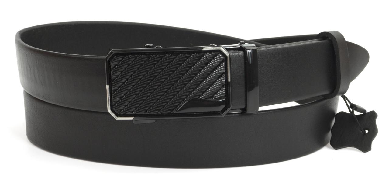 Стильный мужской кожаный ремень с качественной пряжкой автомат 3,5 см Украина (104138) черный