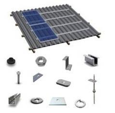 Комплект системы крепления на 1 фотомодуль на скатную крышу (алюминиевый профиль)
