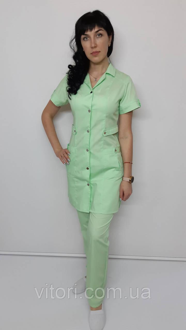 Женский медицинский костюм Хлястик 2-ка коттон короткий рукав