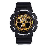 Неубиваемые спортивные наручные часы Casio G-shock GA-100 разных цветов Черный Золотистый Черный