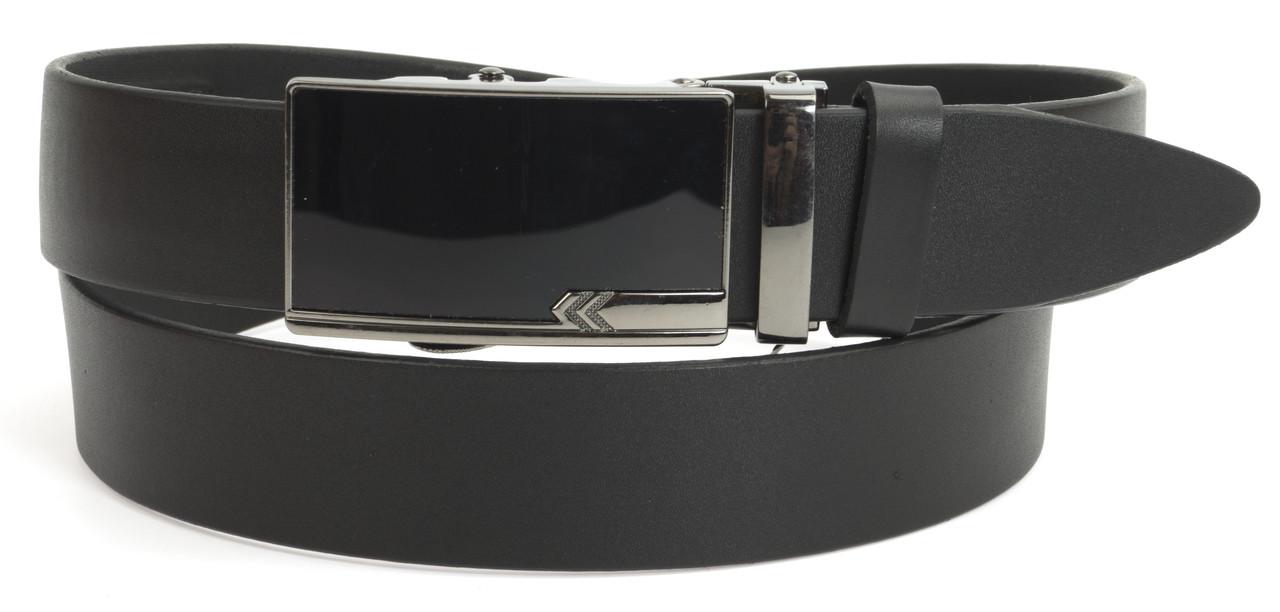 Стильный мужской кожаный ремень с качественной пряжкой автомат  3,5 см Украина (104139) черный