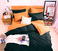 Постельное белье поплин DeLux Микс двусторонний Черный+Апельсин ТМ Moonlight Двуспальный