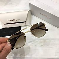 Женские солнцезащитные очки авиаторы Salvatore Ferragamo реплика Коричневые с градиентом, фото 1