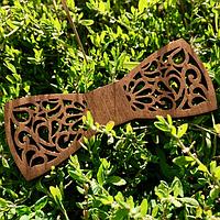 Галстук-бабочка деревянная 11х4 см ручной работы №1, Украина