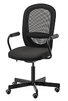 Офисно компьютерное кресло черное с подлокотниками регулируемое с вентилируемой спинкой, фото 1