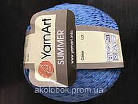 Турецкая летняя пряжа для вязания YarnArt  Summer (саммер)  хлопок с вискозой   26 синий