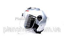 Мотошлем HF-858 металлик (открытый/белое стекло) LS6, фото 3
