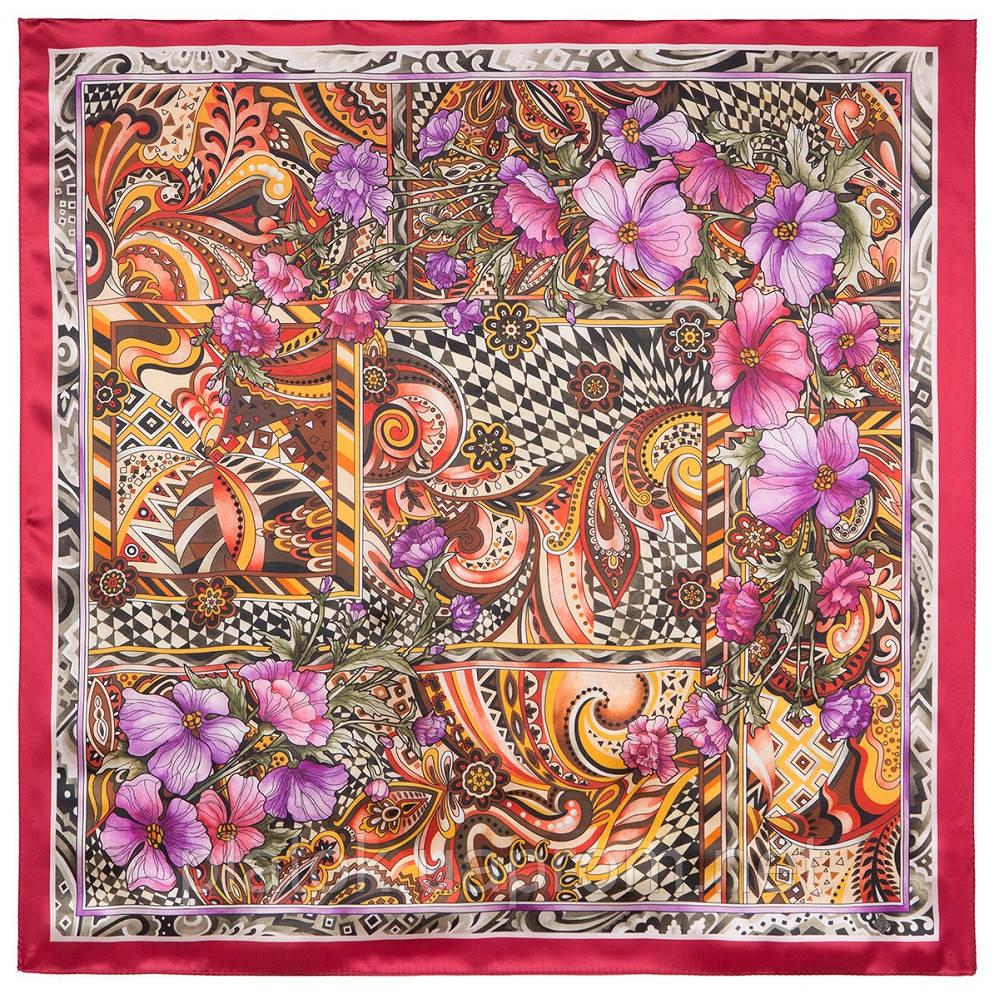 Волшебный мир 10017-5, павлопосадский платок шелковый (атласный) с подрубкой