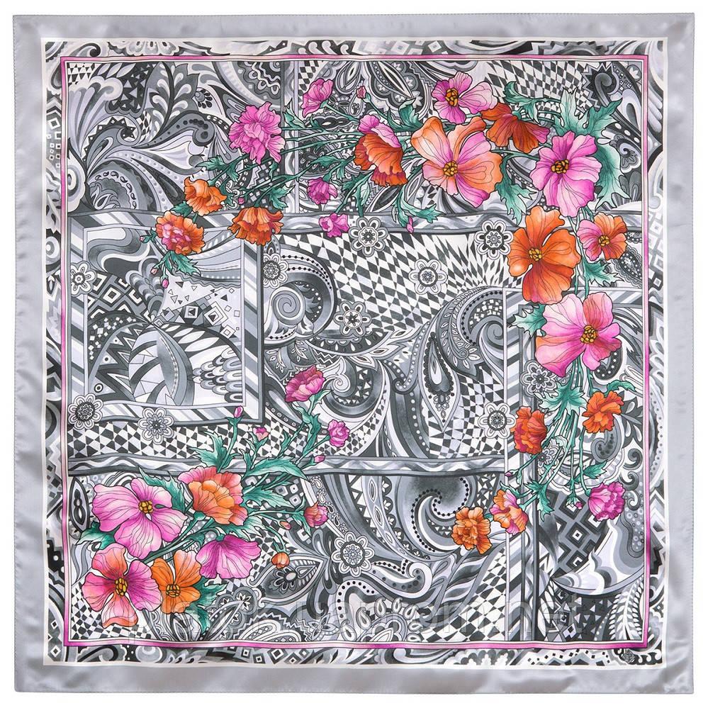 Чарівний мі 10017-2, павлопосадский платок шовковий (атласний) з подрубкой