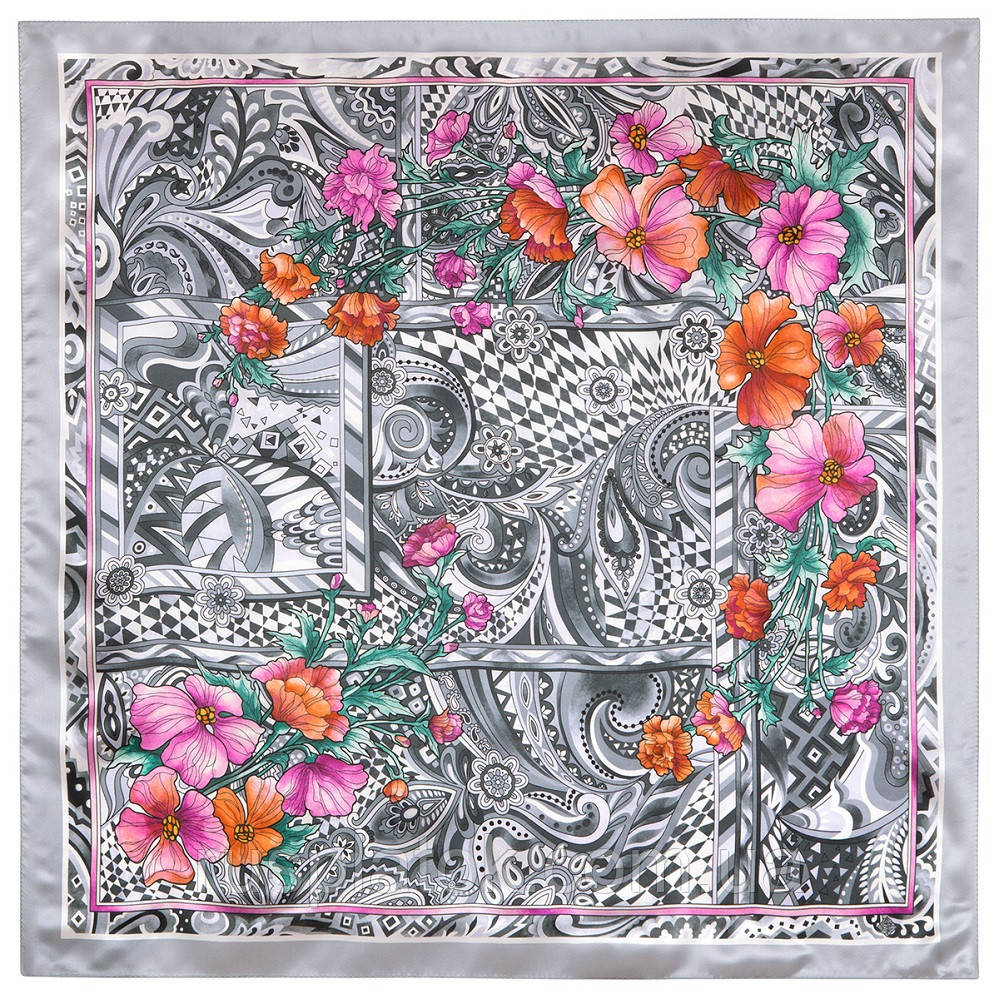 Волшебный мир 10017-2, павлопосадский платок шелковый (атласный) с подрубкой