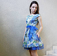 Молодежное мини платье бэби долл с многослойной юбкой серо-синий принт нарядное вечернее на выпускной свадьбу