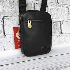 Мужская кожаная сумка Vittorio Safino барсетка, планшетка через плечо из натуральной кожи, Черная VS 004