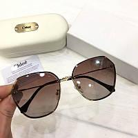 Женские солнцезащитные очки бабочки Chloe реплика коричневые с градиентом, фото 1