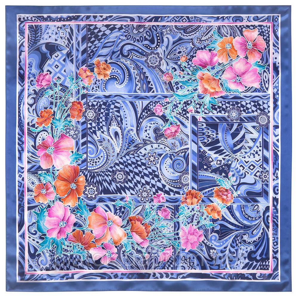 Волшебный мир 10017-14, павлопосадский платок шелковый (атласный) с подрубкой
