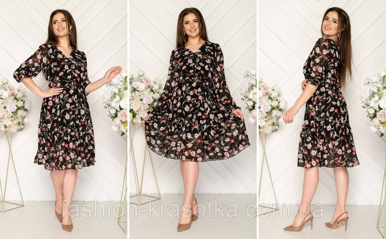 Шифоновое платье на подкладке с пуговицами и поясом,размеры:48,50,52,54.