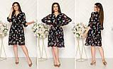 Шифоновое платье на подкладке с пуговицами и поясом,размеры:48,50,52,54., фото 2