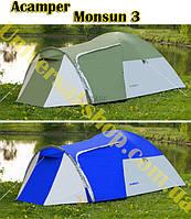 Палатка туристическая новая Acamper Monsun 3 Зеленая