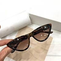 Женские солнцезащитные очки лисички Jimmy Сhoo реплика Коричневые в леопардовой оправе