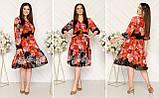 Шифоновое платье на подкладке с пуговицами и поясом,размеры:48,50,52,54., фото 4