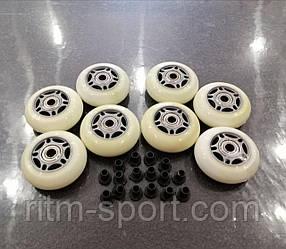 Набор колес для роликовых коньков d-64 мм (8 колес с подшипниками и 16 втулок)