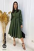 Платье миди цвета хаки с длинным рукавом. Модель 24876. Размеры 42-46