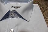 Мужская рубашка на праздник белого цвета в мелкий голубой принт в классическом стиле, фото 2