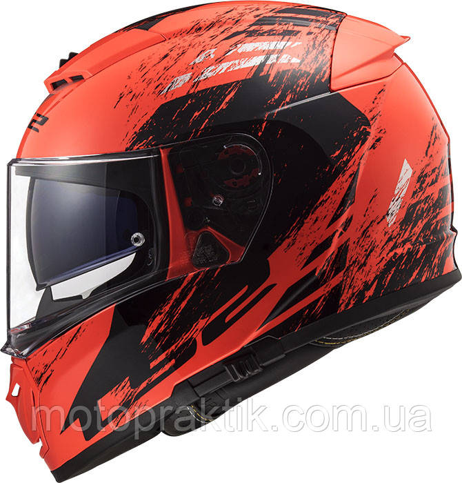LS2 FF390 BREAKER SWAT FLUO BLACK ORANGE, XS Мотошолом інтеграл з окулярами