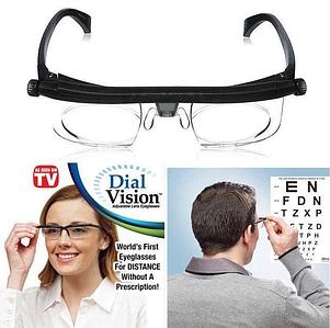 Очки лупа для зрения Dial Vision с регулировкой диоптрии линз от -6 до +3 для чтения