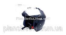 Мотошлем HF-858 черный мат (открытый/белое стекло) LS6, фото 3