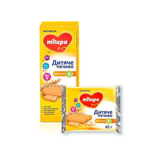 Печиво дитяче пшеничне Milupa, 6+, 45г