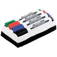 Набор маркеров для магнитной доски с губкой Buromax 4 шт 2-4 мм (BM.8800-84)