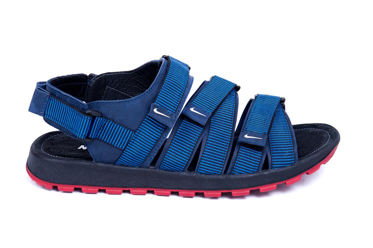 Мужские кожаные сандалии Nike Summer life blue (реплика)