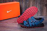 Мужские кожаные сандалии Nike Summer life blue (реплика), фото 8