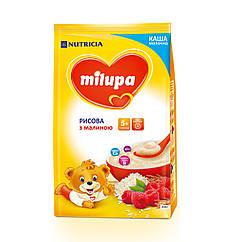 Каша молочна Milupa Рисова з малиною, 5+, 210г