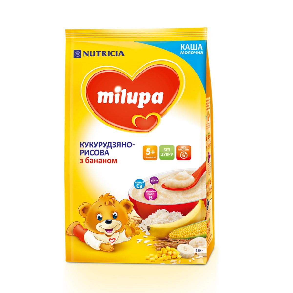 Каша молочна Milupa Рисова з бананом, 5+, 210г