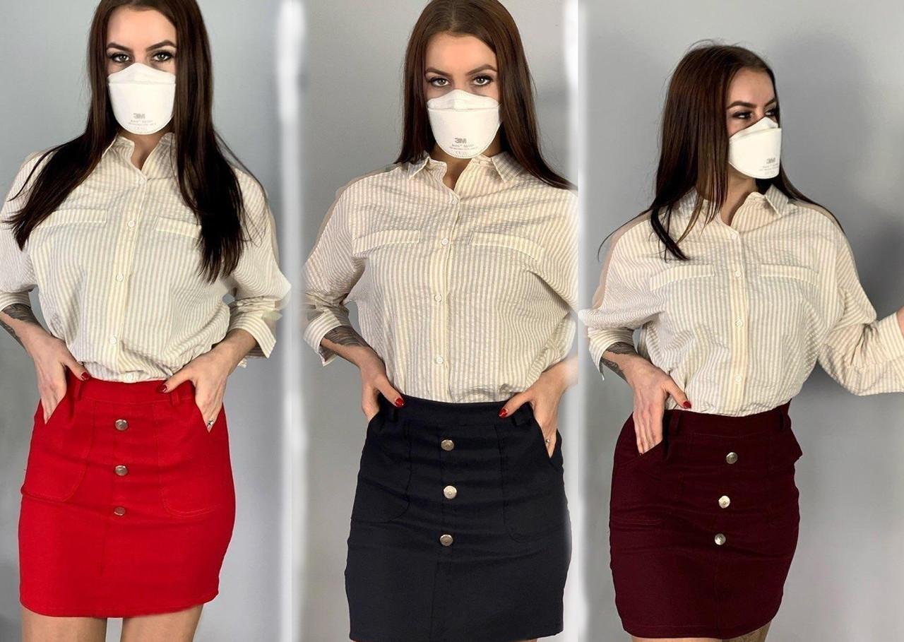 Летняя женская короткая юбка/ fv-224711, разные цвета, S-L