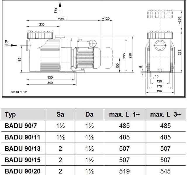 Габаритные размеры и подключение насосов Speck Badu Prime