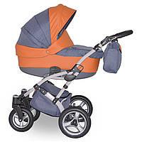 Коляска детская 2 в 1 универсальная Donatan Viano Eco оранжевая серая (ОРИГИНАЛ, оранжевый серый)