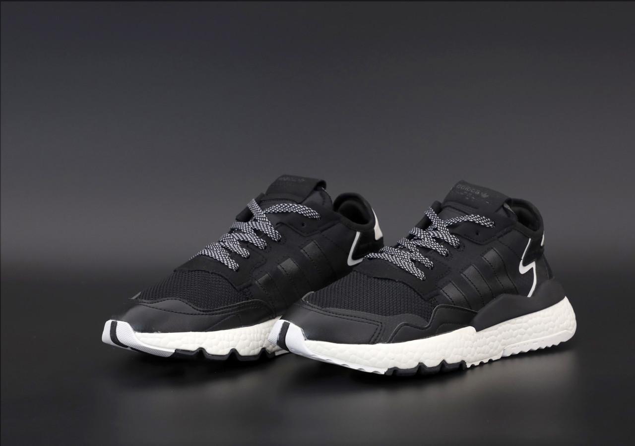 Чоловічі кросівки в стилі Adidas Nite Jogger BLACK найт джоггер (Репліка ААА+)