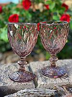 Бокалы для вина из цветного стекла Пудровый ромб (6 предметов)