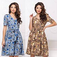 Женское летнее платье с поясом на пуговицах  42 44 46 48коттон хлопок беж пудра синее розовое коричневое белое