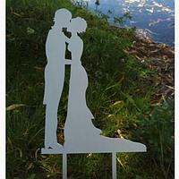 Вау! Свадебный Деревянный Топпер в торт 25х12 см №2, Белый