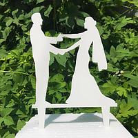 Вау! Топпер Свадебный из дерева в торт 25х12 см №10, Белый