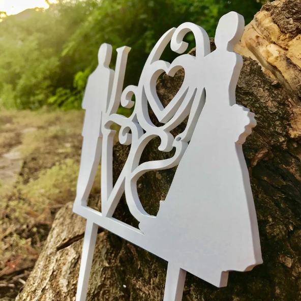Вау! Оригинальный Деревянный Топпер на Свадьбу 25х12 см №13, Белый