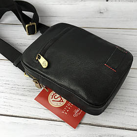 Мужская кожаная сумка Vittorio Safino барсетка, планшетка через плечо из натуральной кожи, Черная VS 003