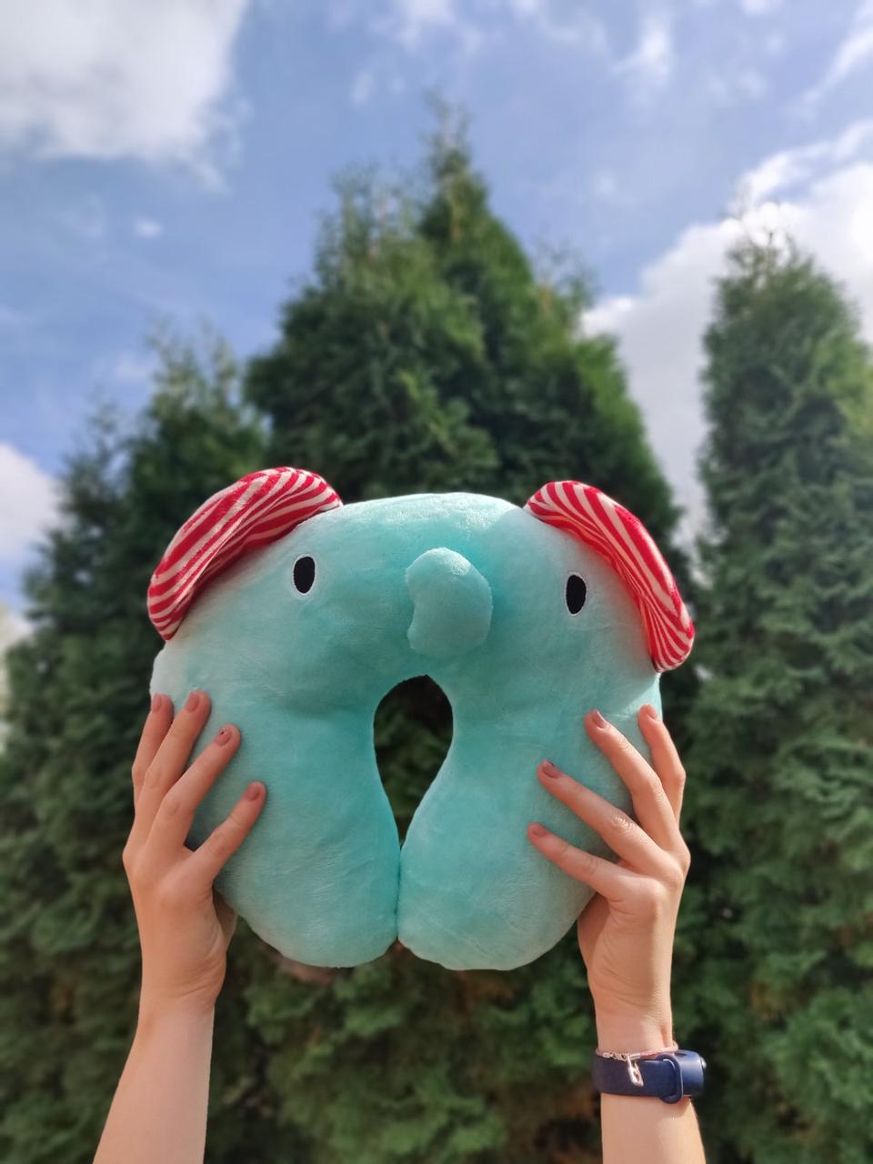 """Дорожная подушка подголовник для путешествий под шею в дорогу """"Звери"""" Слон"""
